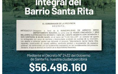 NUESTRA CIUDAD RECIBIRÁ FONDOS DEL «PLAN INCLUIR» PARA MEJORAS EN EL BARRIO SANTA RITA